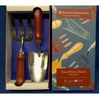 ROYAL HORTICULTURAL SOCIETY GROUND WORKS TROWEL & FORK SET - MID SEASON SALE – 30% OFF – WAS £26.99